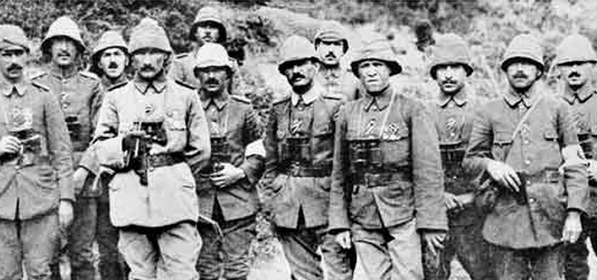 Colonel Mustafa Kamal with officers of the Anafarta Group. August 1915. Gallipoli. AWM P01141.01