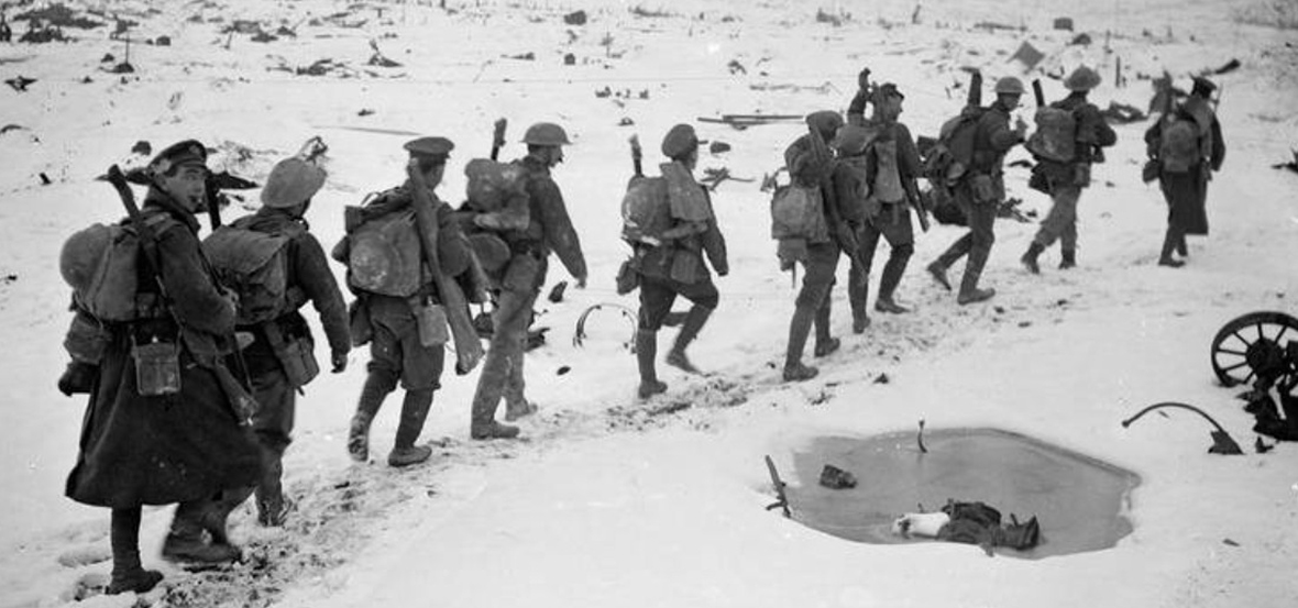 Royal Engineers passing across snow-covered ground, East of Contalmaison, February 1917