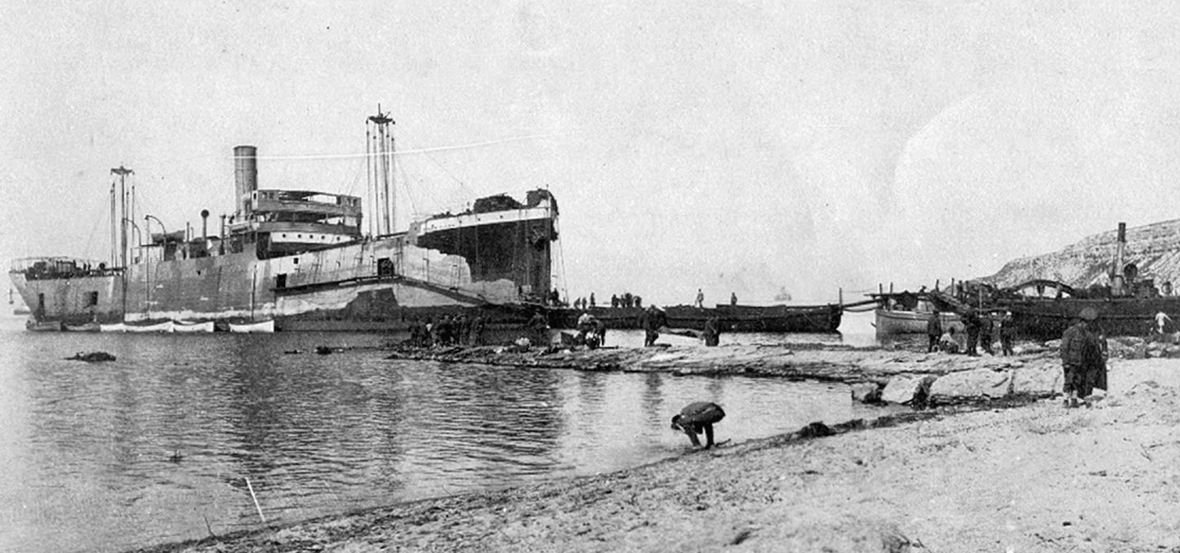 The River Clyde on V beach, Gallipoli. May 1915.