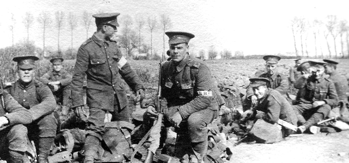 1/18th Battalion stretcher-bearers resting during a route march. Mercian Regimental Museum (WFR Collection)